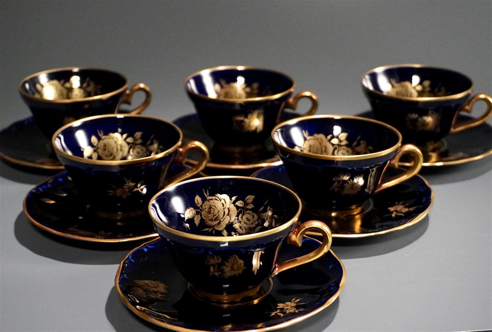 Cobalt Blue 22K Gold Gilded Demitasse Cup Saucer Lot of