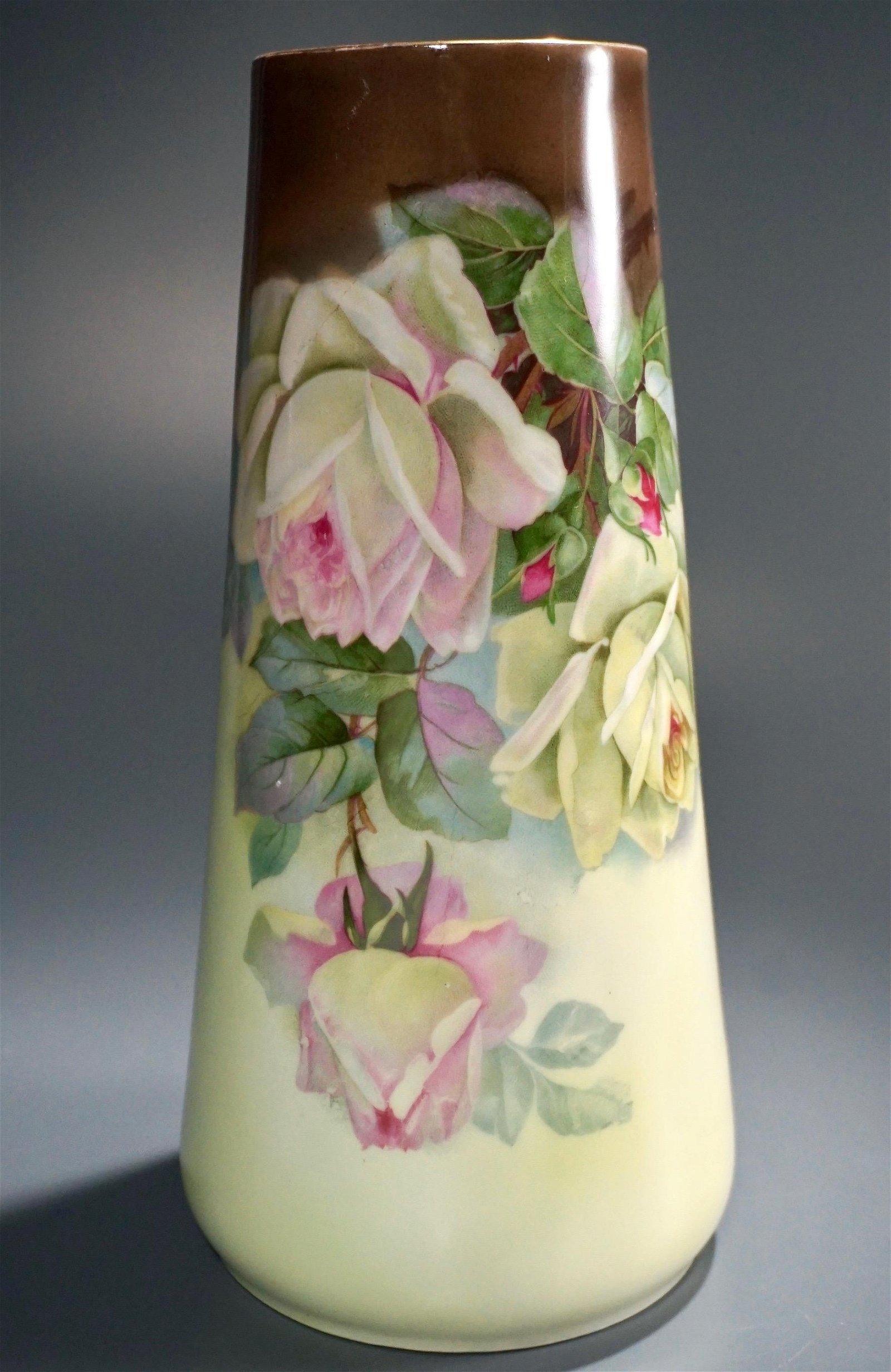 Antique Porcelain Vase Altwasser C.T. Silesia Roses