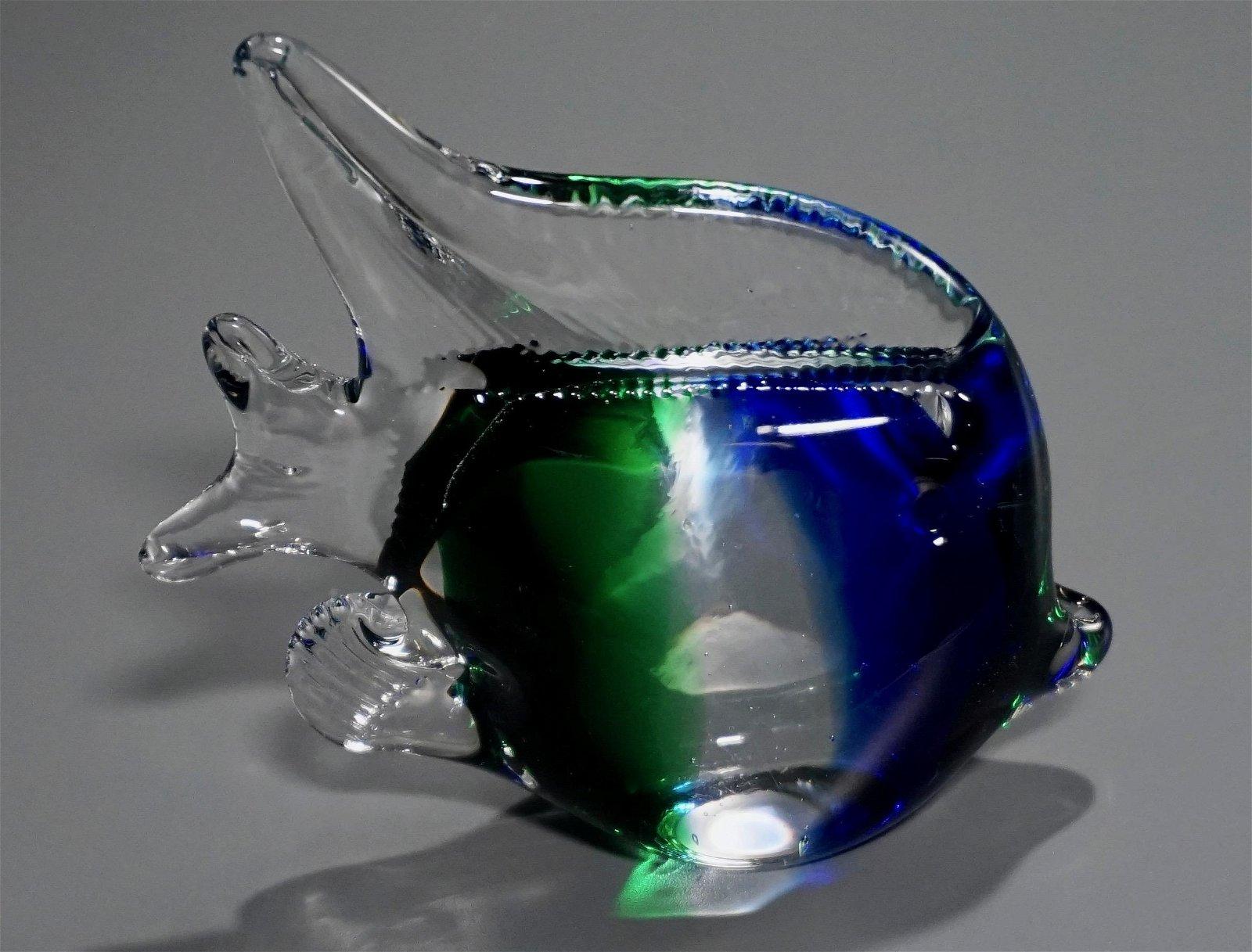 Green and Blue Art Glass Fish Sculpture Paperweight