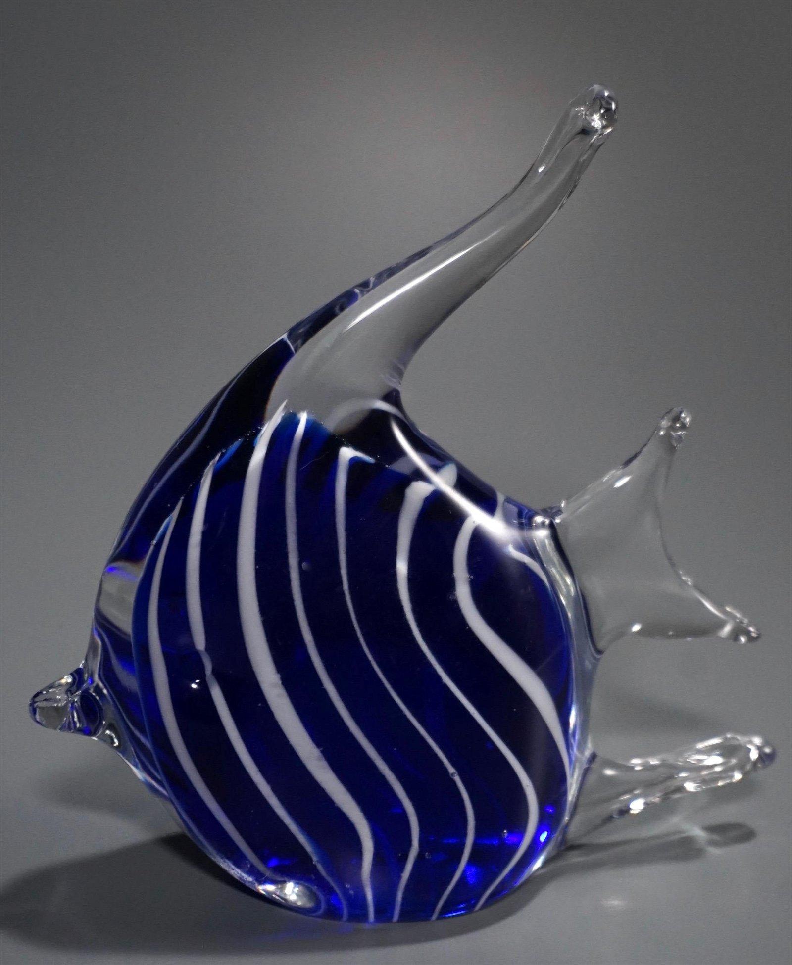 White Stripe Cobalt Blue Art Glass Fish Paperweight