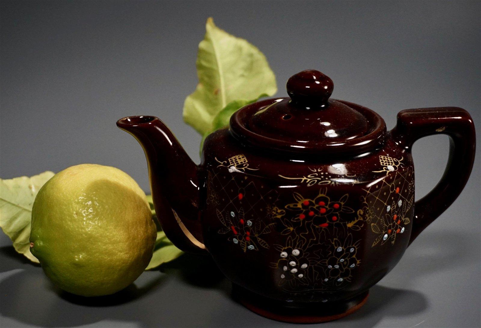 Small Teapot Vintage Brown Glazed Redware Pottery