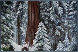 Winter Forest Oil Canvas Painting Sequoia National Park