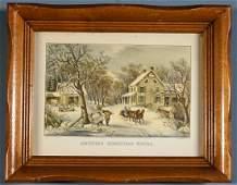 American Homestead Winter Currier  Ives Vintage Print