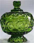 Green Depression L E Smith Glassware Footed Bowl with