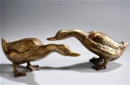 Cast Brass Duck Sculpture Mid Century Decor Lot of 2