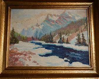 Vintage Landscape Oil Painting Mounting View c1940
