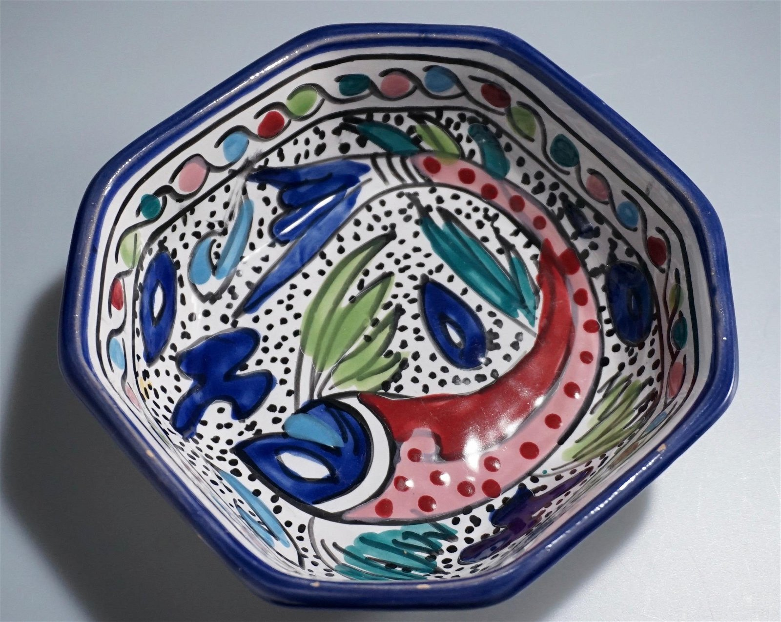 Abstract Fish Hand Painted Folk Colorful Ceramic Bowl