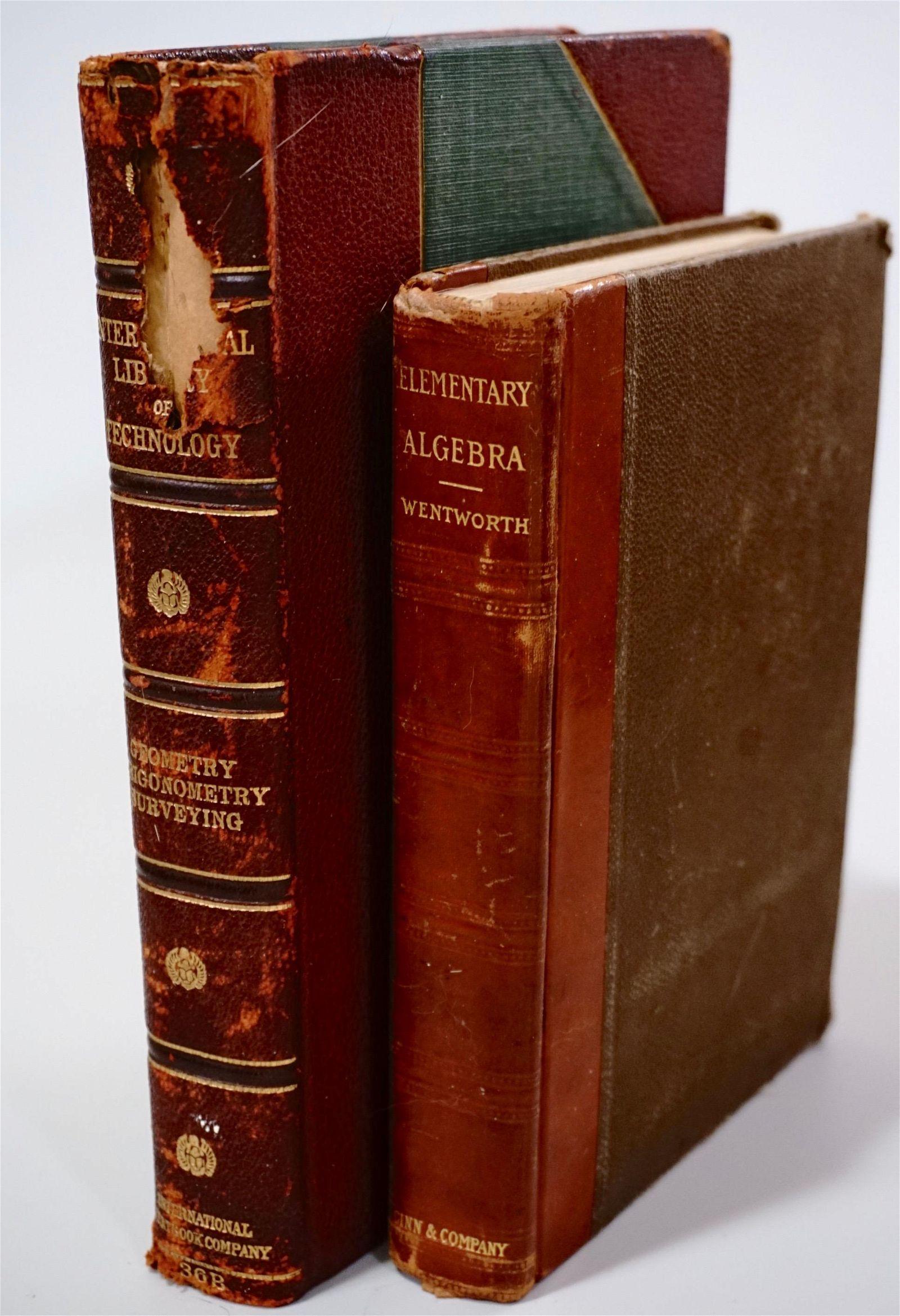 Antique Algebra Geometry Textbook Lot of 2 Books