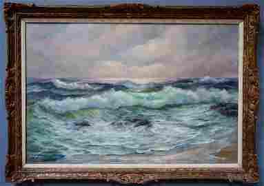 Vintage Seascape Signed Canvas Painting Antique Carved