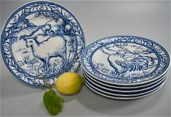 Blue White Farm Animals Luncheon Salad Plates Brittany