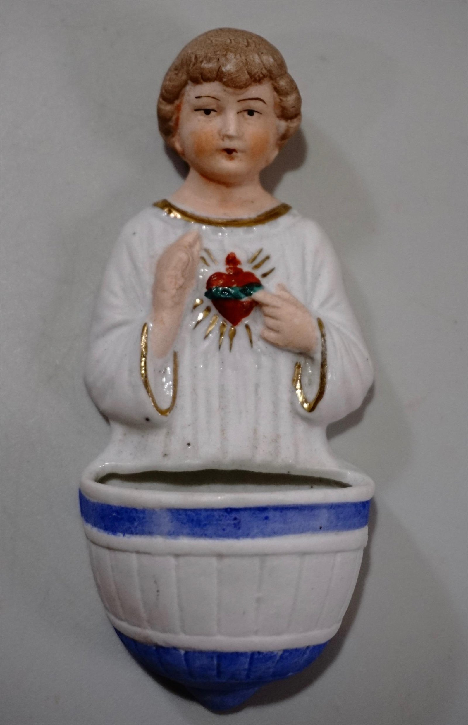 German Bisque Porcelain Holy Water Font Angel