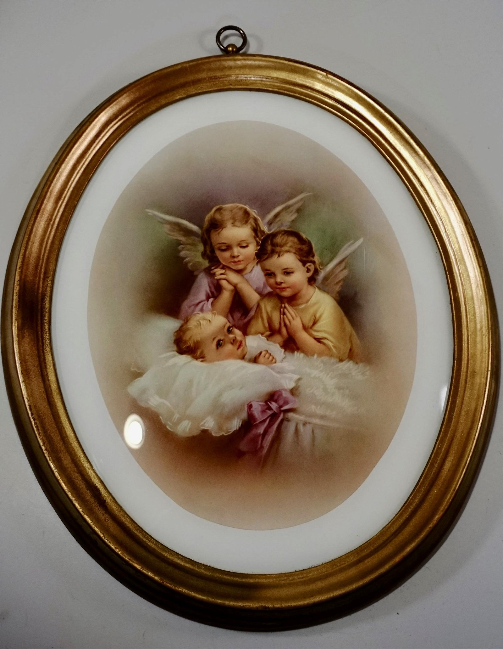 Baby and Angelic Children Guardian Angels Oval Glass