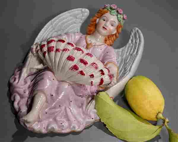 Bisque Porcelain Angel Font Large Wall Sconce