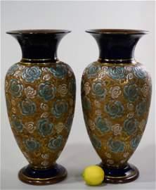 Pair Royal Doulton Slater Studios Stoneware Vase Lamp