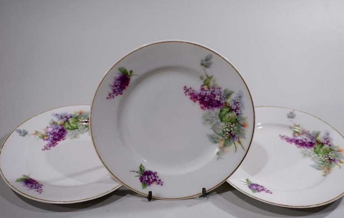 English Porcelain Lilac Plates Wall Plaques Lot of 3
