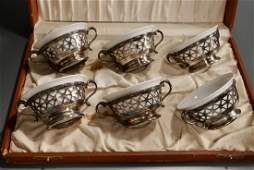 Antique Ramekins French Silver Plate Cups Limoges Porce