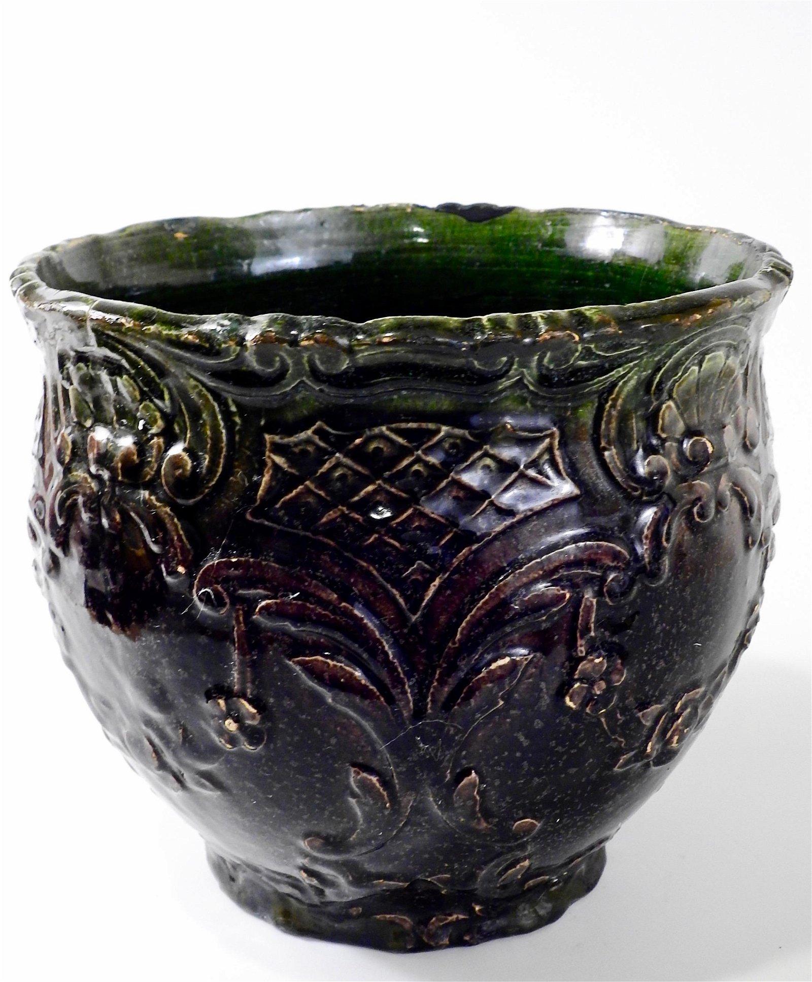 Antique Victorian Majolica Pottery Planter Cachepot