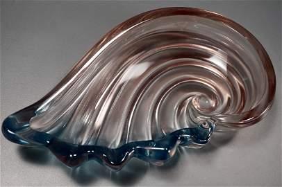 Beautiful Italian Art Glass Pink and Blue Scroll Bowl