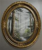 Forest Landscape Oval Canvas Painting Nicely Framed