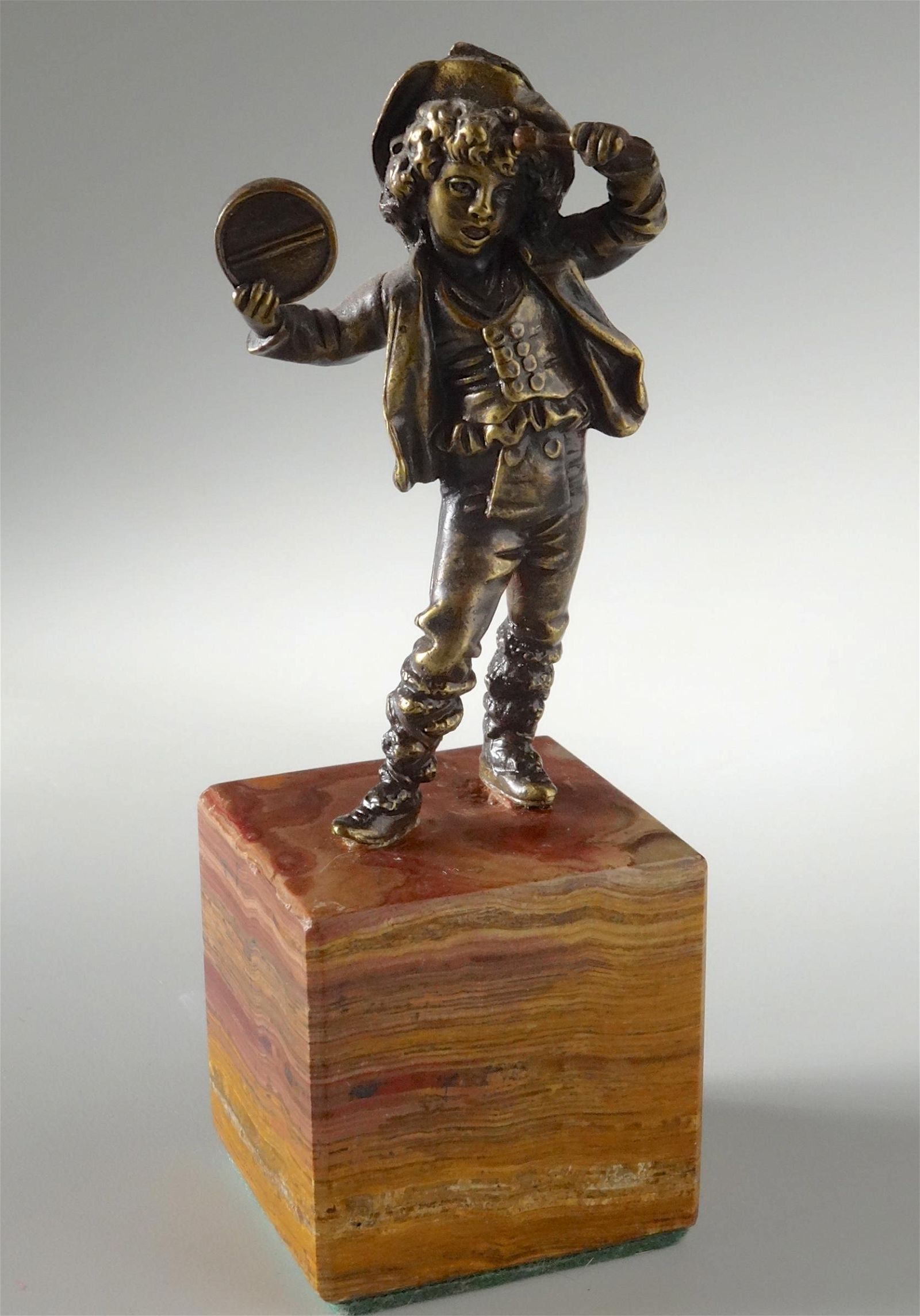 Italian Antique Bronze Boy with Tambourine Figurine