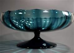 Italian Murano Mid Century Blue Art Glass Compote