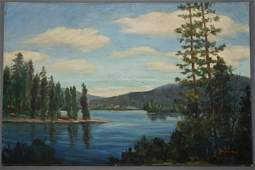 Water View Forest Landscape Large Vintage Painting