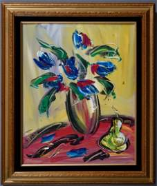 Blue Tulips Abstract Still Life Framed Canvas Painting