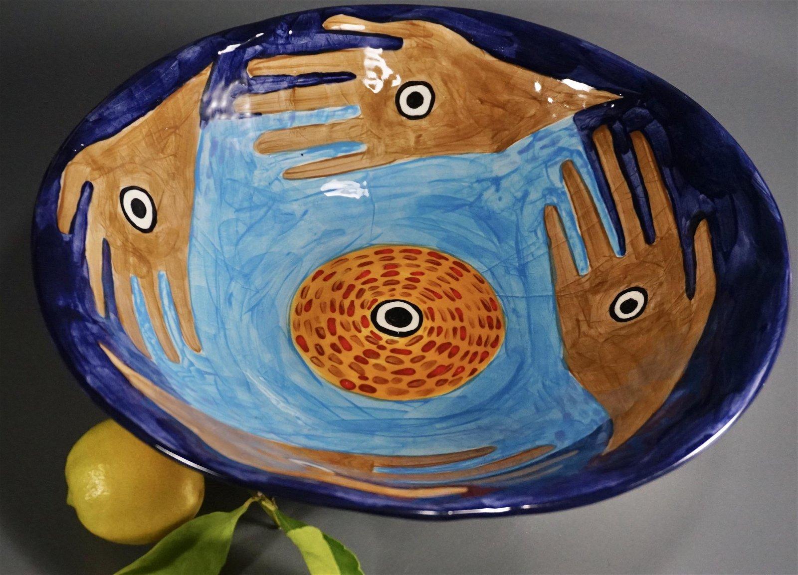 Modern Art Large Studio Pottery Abstract Bowl Artist