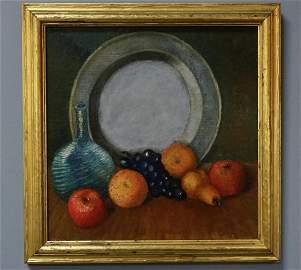 Mid Century Art Oil Still Life Painting in Gilded Frame
