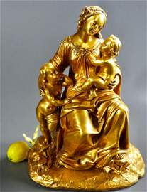 Ormolu Gilded Bronze Sculpture Madonna and Child with