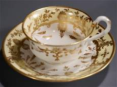 Early Spode Yellow Gold Tea Cup Saucer Set Hand Painted