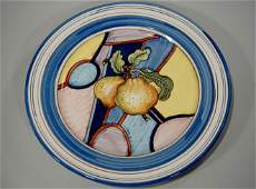Large Italian Quince Hand Painted Pottery Wall Plaque