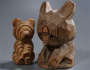 Primitive Bear Wood Figurine Lot of 2