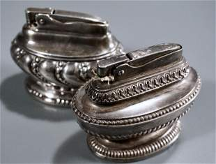 Ronson Table Lighter Lot of 2 Queen Anne Crown Lighters