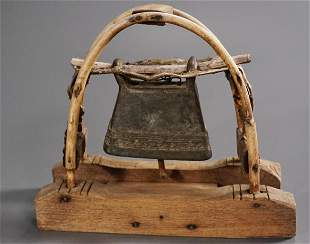 Unusual Cast Brass Temple Bell on Wooden Base