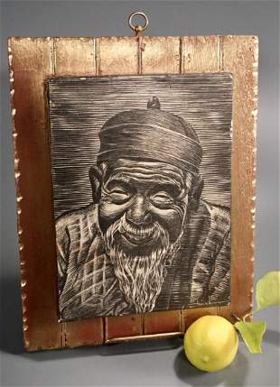 Old Man Oriental Wall Plaque Black White Print Mounted