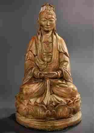 Guanyin Buddhist Figurine Garden Statue Kwan Yin Seated