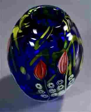 Encased Cobalt Blue Art Glass Studio Vase Multi Colored