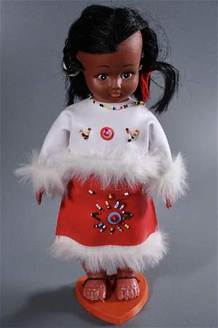 Vintage Plastic Native American Indian Squaw Doll