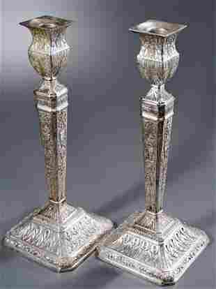 English Edwardian Silver Plated Candlesticks c1900 Pair