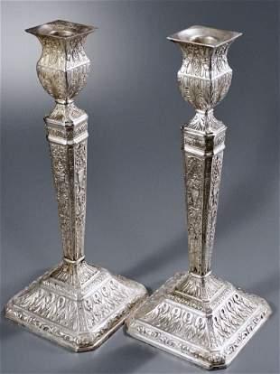 English Edwardian Silver Plated Candlesticks c1900 Pair