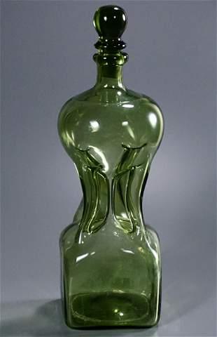 Green Glass Pontil Blown Pinch Bottle Decanter Original