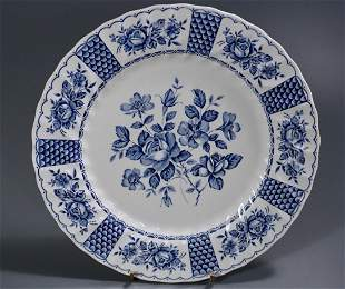Melody by Franciscan Blue White Floral Scalloped Plate