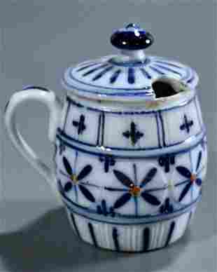 Victorian Flow Blue Porcelain Mustard Jar