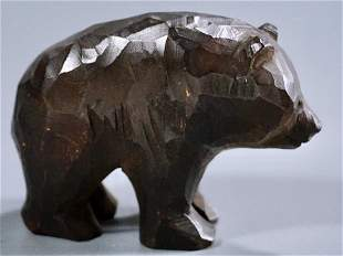 Black Forest Style Carved Wood Bear Figurine