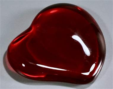 Tiffany Valentine Red Heart Crystal Paperweight Peretti