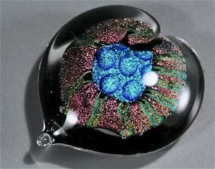 Dichroic Art Glass Heart Paperweight