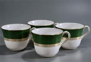 Royal Crown Derby Antiqua Green Gold Cup Lot of 4