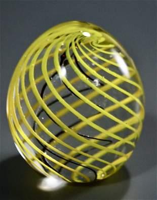 Art Glass Yellow Spiral Egg Paperweight