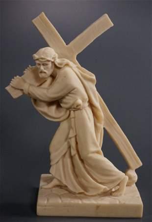 Italian Figure Christ Carrying Cross Marble Composite